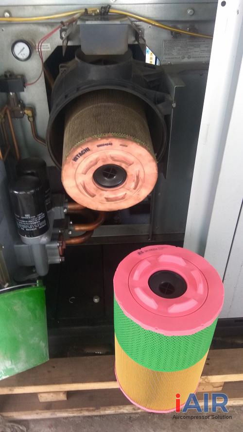 Thay lọc khí máy nén khí Hitachi 75 kw