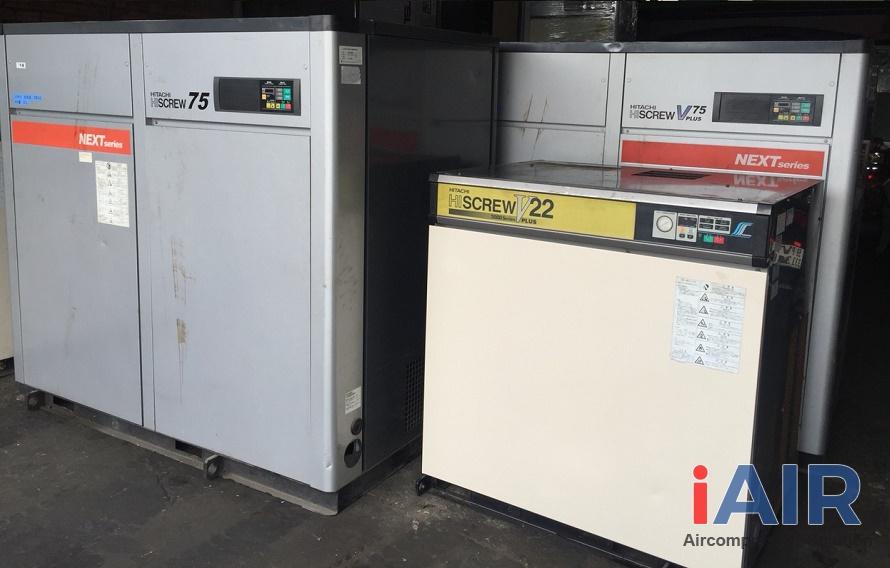 Kho máy nén khí Hitachi cũ tại Thanh Trì, Hà Nội với nhiều chủng loại máy nén khí đời cao đến 90%
